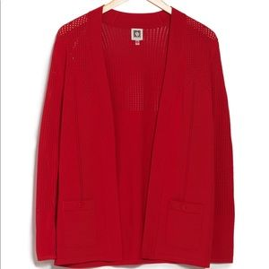 NWT Anne Klein open front knit cardigan red M